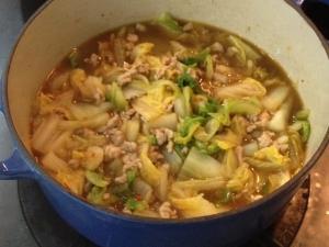 蒸し煮でとろっとろマーボー白菜2
