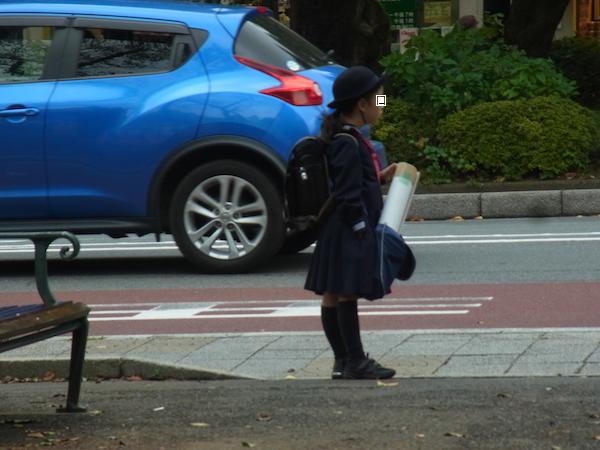 小学生と青い車