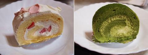 苺のロールケーキ & 抹茶豆腐シフォンロール