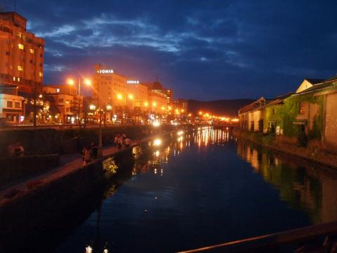 夜の小樽運河  ロマンチック♪