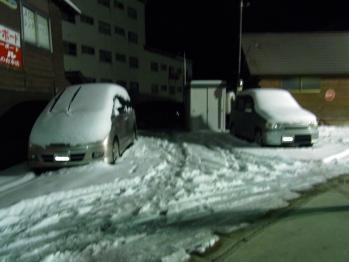 車も雪で覆われてる。。。