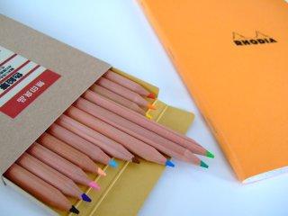 ロディアのノートと色鉛筆