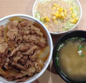築地吉野家牛丼サラダセット