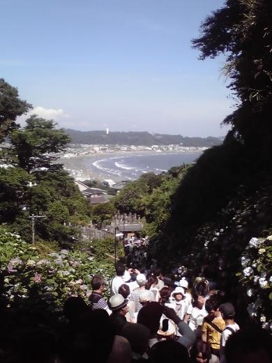 成就院の坂より由比ヶ浜を眺める