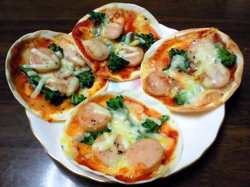 餃子の皮のピザ