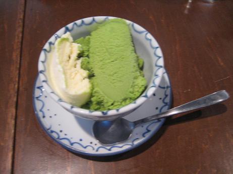 抹茶2色アイス