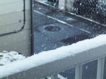 ベランダの手摺に積もった雪 02