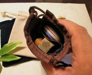 印袋(スエード調ポーチ)2重ポケット