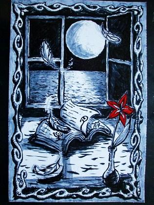 筆ペン画「星月夜」