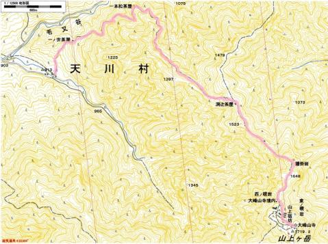 山上ヶ岳登山地図