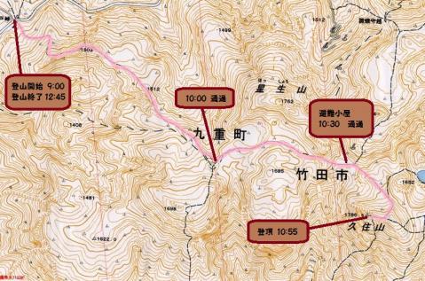 久住山登山地図