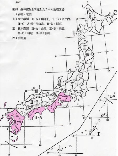 森林植生を考慮した日本の植物地理区分