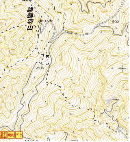 諭鶴羽山の山頂付近の地形図