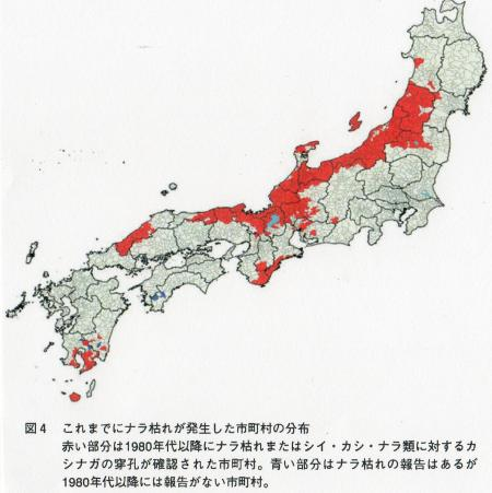 ナラ枯れ市町村の分布図
