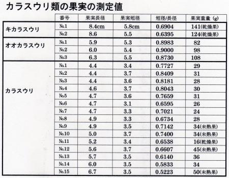 カラスウリ類の果実の測定結果