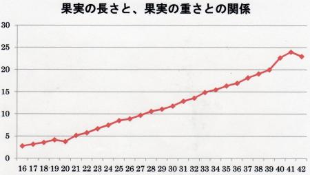 果実の長さと重さの関係