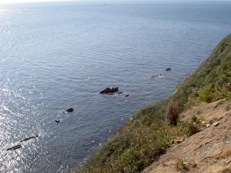 崖の上から海を眺める