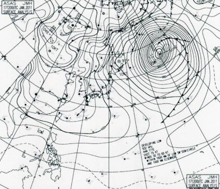 2011年1月17日21時のアジア東部地上天気図
