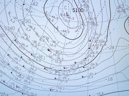 2012年1月23日09時の500hPa面の高度と気温