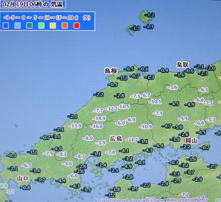 2012年2月19日06時 アメダス気温分布