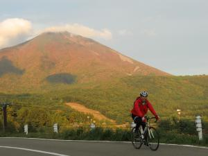 磐梯山をバックに。