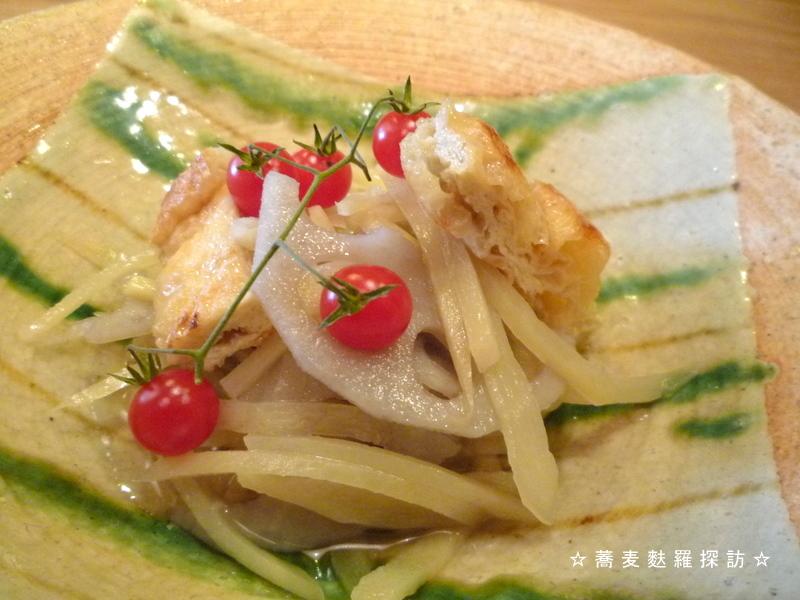 13.本郷 蕎麦切 森の (新生姜と蓮の煮びたしアップ)