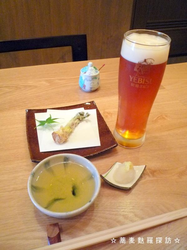 13.本郷 蕎麦切 森の (エビスビールおかわりとたらの芽の天ぷら)
