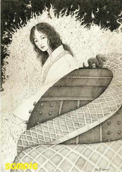 ペン画「清姫さん」