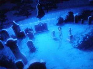 外国人墓地に立つカラス(アニメ)