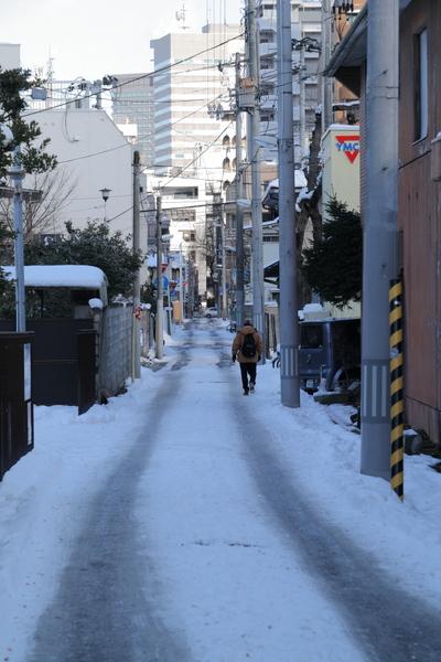 根雪になった路地
