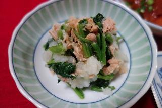小松菜とツナのおろしあえ0621