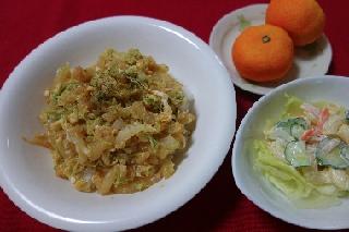白菜と天かすの丼0821