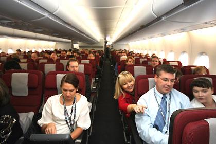 飛行機の中1