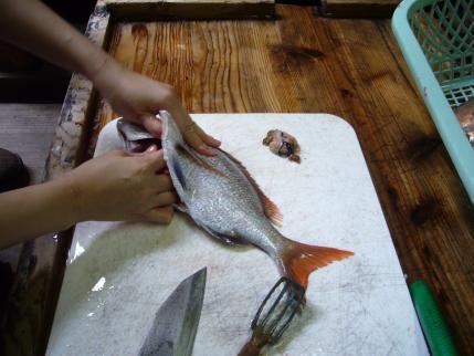 魚のさばき方教室in内海