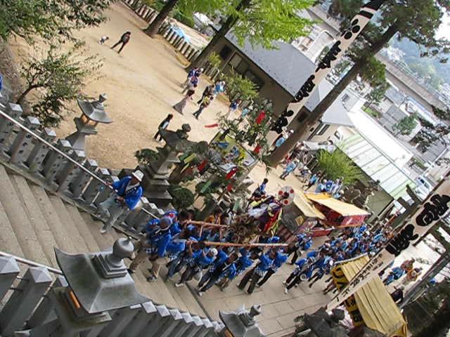 20111016 田中山神社秋祭り(鯛の迫町内会) 階段上り