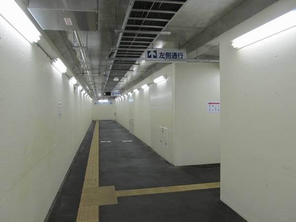 線路下をくぐる部分。右側の壁には仮下りホームに通じる開口部が準備されている(後述)。
