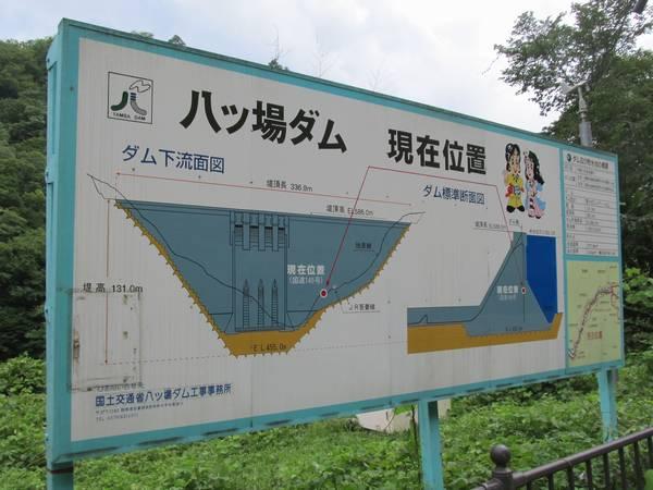 八ッ場ダム堤体予定地に設置されている案内板