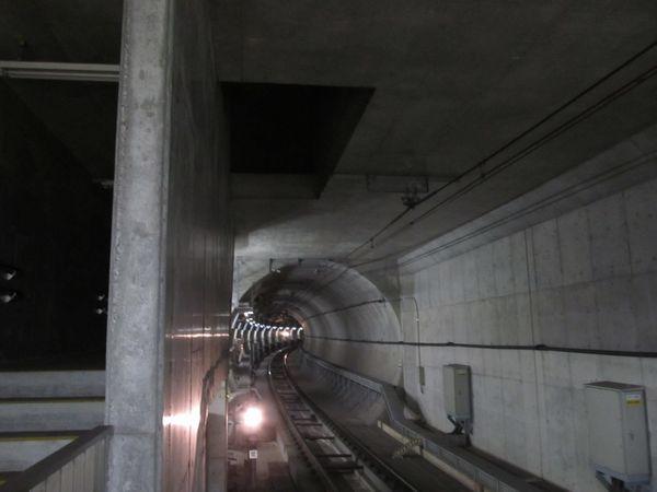 国領駅調布方のホーム端にあるトンネル換気口。調布駅で取り込んだ空気をここで地上に排出する。