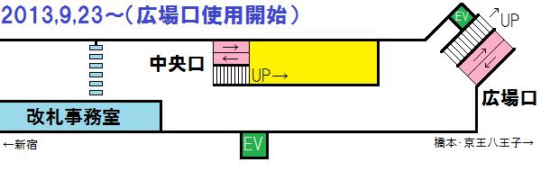 2013年9月23日以降の調布駅中央口付近の構内図