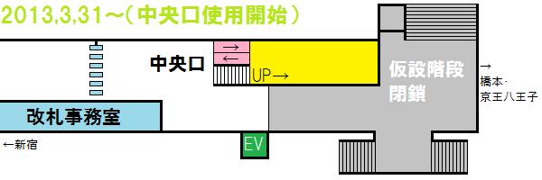 2013年3月31日以降の調布駅中央口付近の構内図