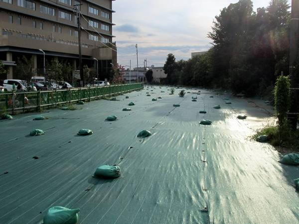 京王相模原線廃線跡(2014年8月3日)。砂が飛ばないようビニールで覆われた。