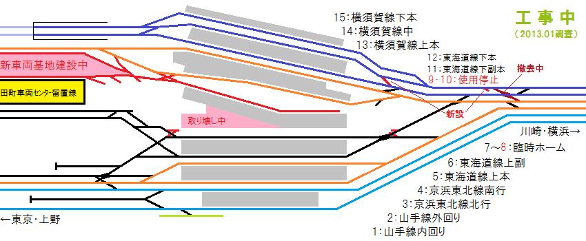 2013年1月の品川駅構内の配線図