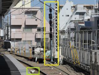下りホーム(3・4番線)の渋谷方に設置された出発用信号機(黄)とATC地上子(緑)。