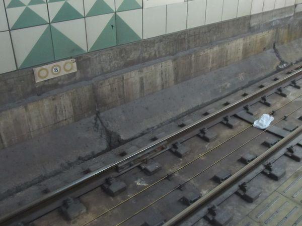 8号車付近の線路上に設置された停車目標と思しき物体