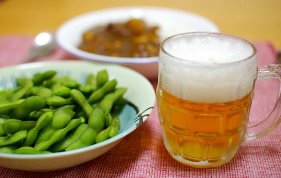 ビールと枝豆ーーー