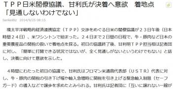 newsTPP日米閣僚協議、甘利氏が決着へ意欲 着地点「見通しないわけでない」