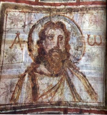 """初期キリスト教美術 """"ひげを生やしたキリスト""""  コモディッラのカタコンベ フレスコ 部分  4世紀末-5世紀初め ローマ"""