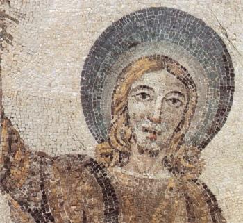 """初期キリスト教美術 """"ひげのないキリスト"""" サンタ・コスタンツァ教会モザイク 部分 4世紀 ローマ"""