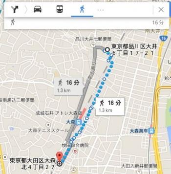 map東京都大田区大森北4丁目27車で十数分