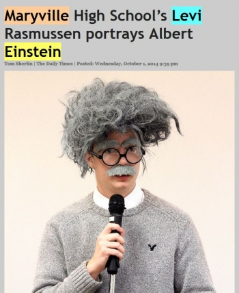Maryville High School's Levi Rasmussen portrays Albert Einstein